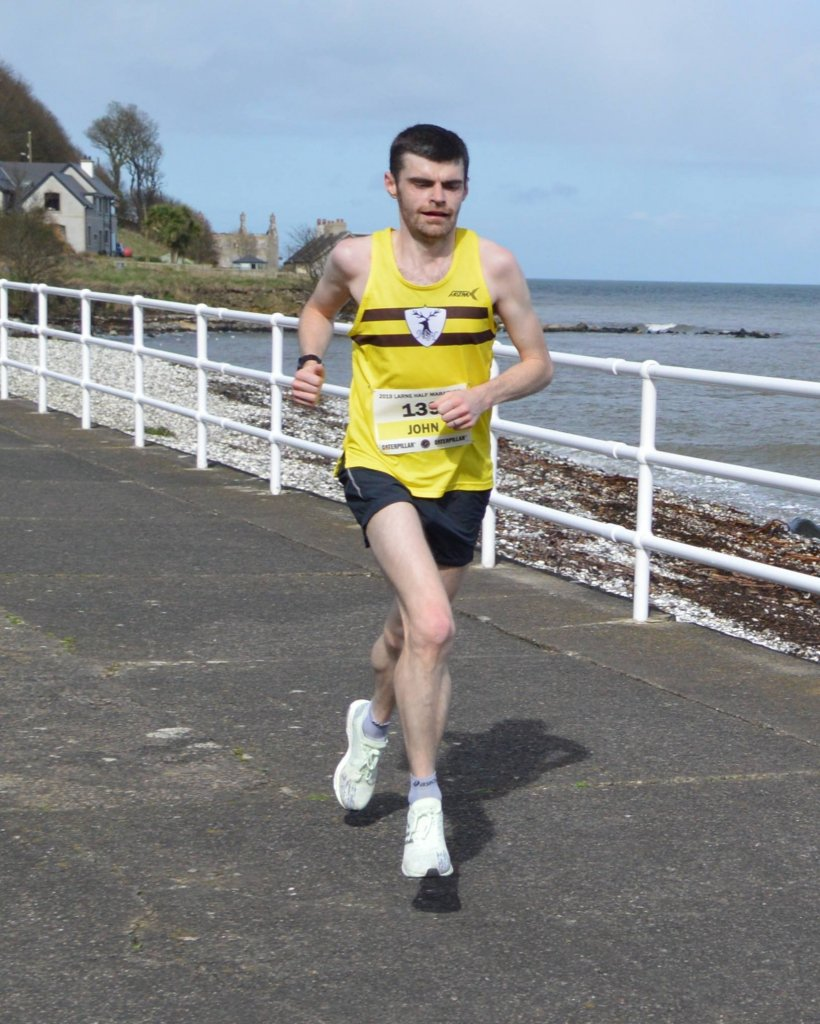 John Black in action at the Larne Half Marathon